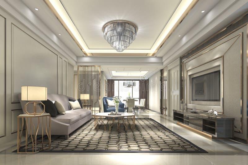 luxo de madeira da rendição 3d e sala de visitas e sala de jantar modernas ilustração royalty free