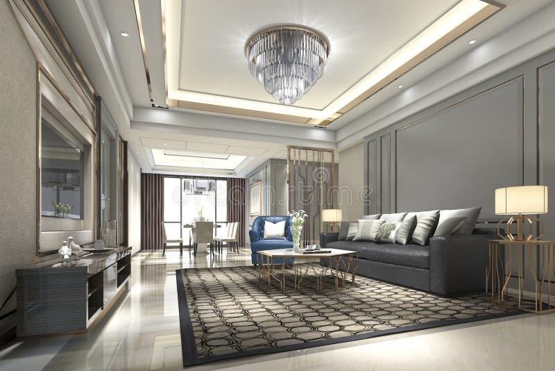 luxo de madeira da rendição 3d e sala de visitas e sala de jantar modernas ilustração stock