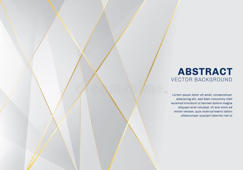 Luxo poligonal abstrato do teste padrão no fundo branco e cinzento com linhas douradas ilustração do vetor