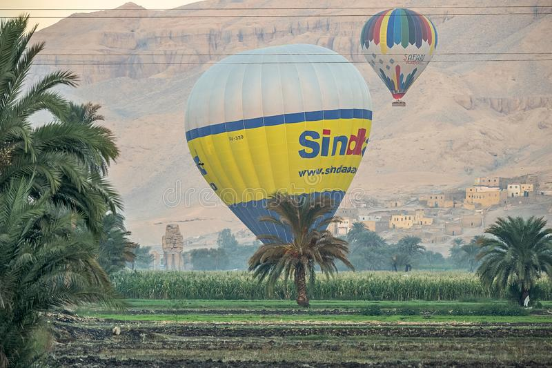 12/11/2018 Luxor, de hete luchtballons die van Egypte bij zonsopgang over een groene oase in de woestijn toenemen stock foto's