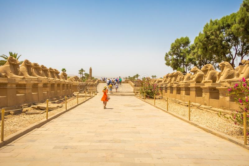 Luxor, Egypt - April 16, 2019: Avenue of The Sphinxes with tourists in Luxor royalty free stock photography