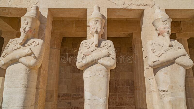 Luxor, Egypt : The Mortuary Temple of Hatshepsut, also known as the Djeser-Djeseru, is a mortuary temple of Ancient Egypt located. Luxor, Egypt: The Mortuary royalty free stock image