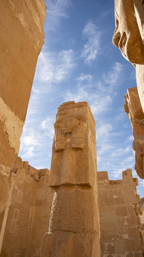 Luxor, Egypt : The Mortuary Temple of Hatshepsut, also known as the Djeser-Djeseru, is a mortuary temple of Ancient Egypt located. Luxor, Egypt: The Mortuary stock photography
