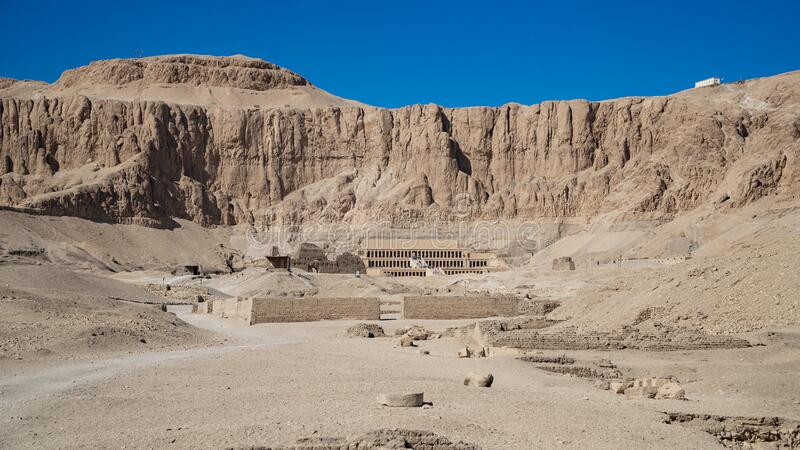 Luxor, Egypt : The Mortuary Temple of Hatshepsut, also known as the Djeser-Djeseru, is a mortuary temple of Ancient Egypt located. Luxor, Egypt: The Mortuary royalty free stock photos