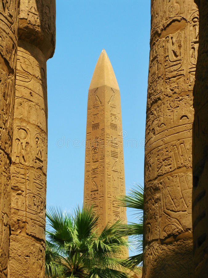 Luxor: Obelisk at the Temple of Karnak royalty free stock images