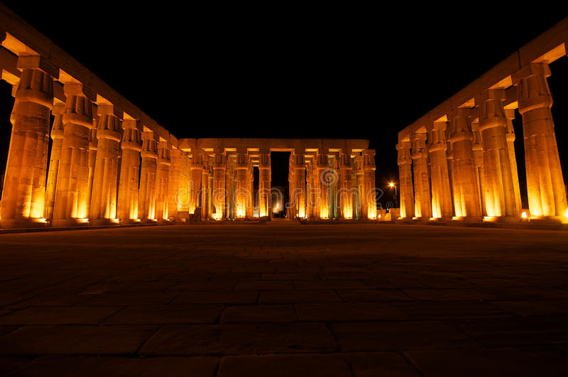 Luxor Temple. By night fall royalty free stock photos