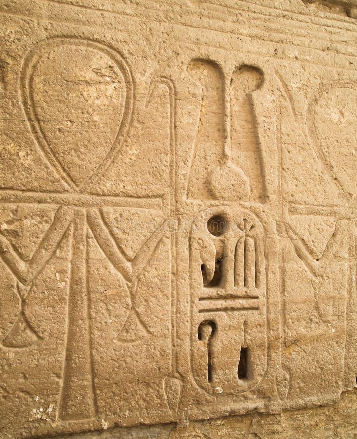 Luxor temple hieroglyphs ankh stock photos