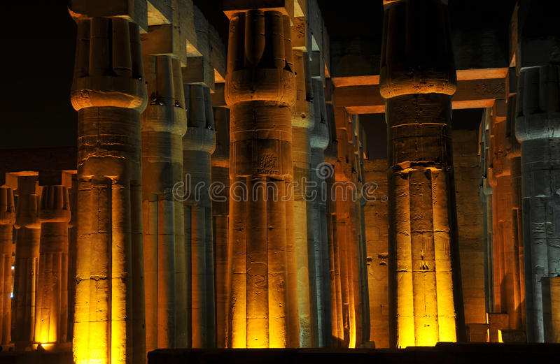 Luxor Temple at night. Illuminations of the ancient egyptian temple of Luxor showing the great hypostyle hall royalty free stock photos