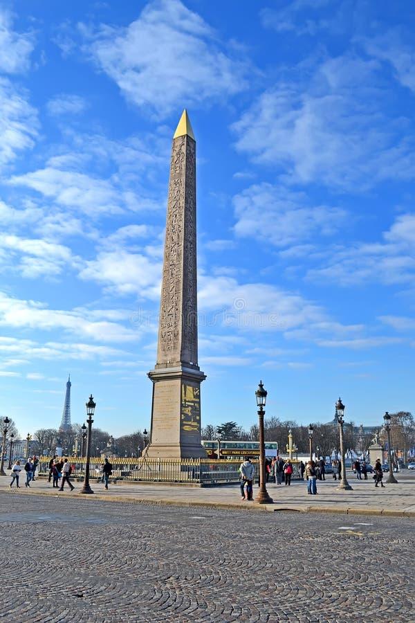 Luxorobelisk op het centrum van de Plaats DE La Concorde in Parijs, Frankrijk, stock foto