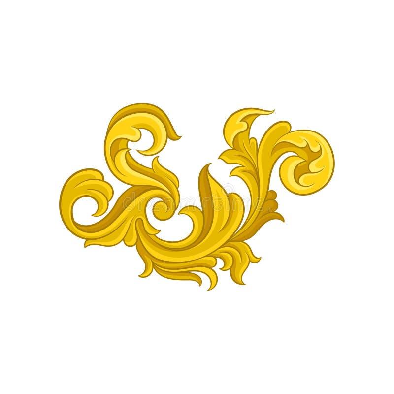 Luxueus barok ornament Gouden bloemenpatroon Decoratief vectorelement voor prentbriefkaar of huwelijksuitnodiging stock illustratie