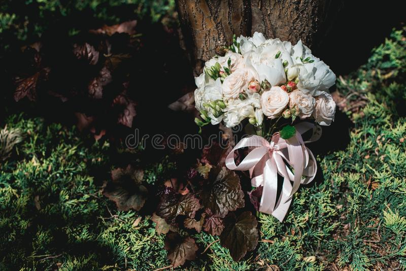 Luxueus bruids boeket van witte pioenen en rozen in naaldstruiken royalty-vrije stock afbeeldingen