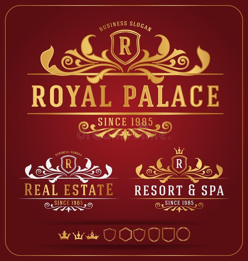 Luxueus Koninklijk Re-sizable het Ontwerpmalplaatje van Logo Vector royalty-vrije illustratie