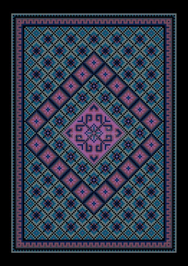 Luxueus uitstekend oosters blauwachtig tapijt met gekleurd ornament in het midden stock illustratie