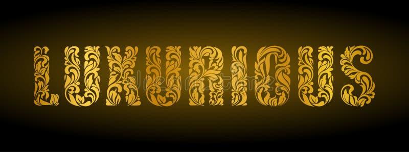 luxueux Lettres d'or d'un ornement floral sur un fond foncé illustration de vecteur