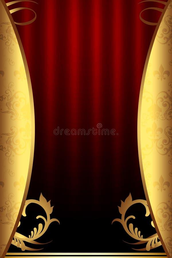Luxueuze Achtergrond in Rode en Gouden Kleuren stock illustratie