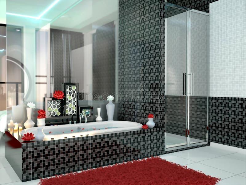 Luxueuze Badkamers In Zwart-witte Kleuren Stock Illustratie ...