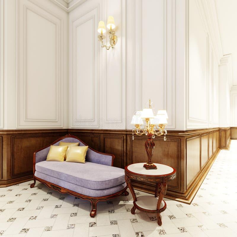 Luxueuze banquette met houten gesneden lijst en grote classictable lamp royalty-vrije illustratie