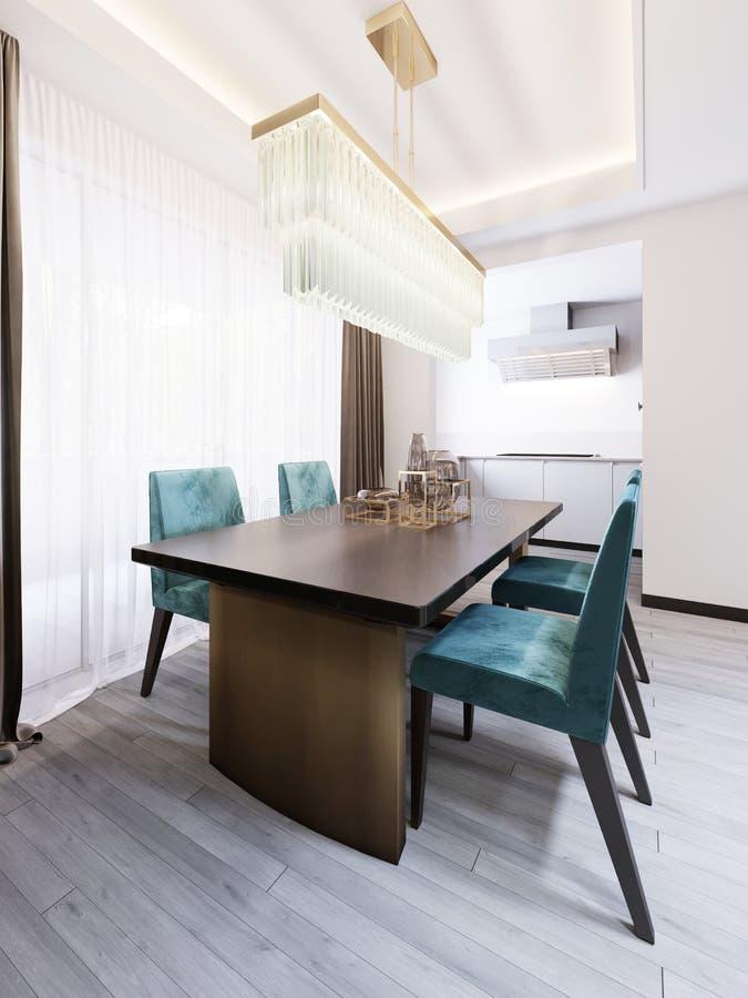 Luxueuze eetkamer met eettafel en keuken royalty-vrije illustratie