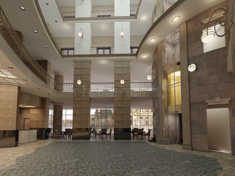 Luxueuze hal met donkere steenmuren en pijlers met vloer royalty-vrije illustratie