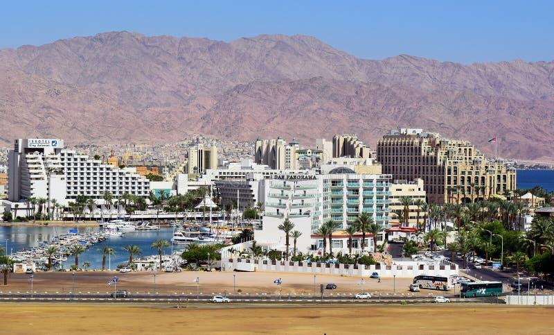 Luxueuze hotels in populaire toevlucht - Eilat stock afbeeldingen