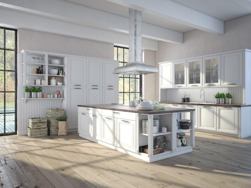 Luxueuze keuken met roestvrij staaltoestellen royalty-vrije illustratie