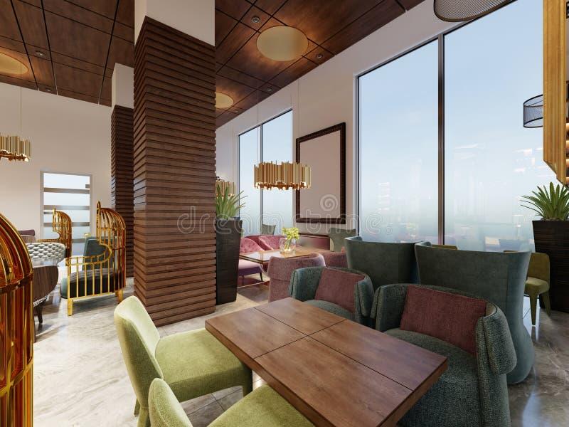 Luxueuze koffie in moderne stijl met kleurrijke meubilair en ontwerper gouden kroonluchters Houten panelen op kolommen en plafond stock illustratie