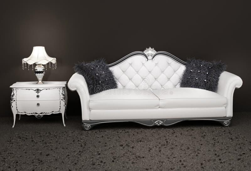 Luxueuze leerbank met bedlijst stock afbeelding