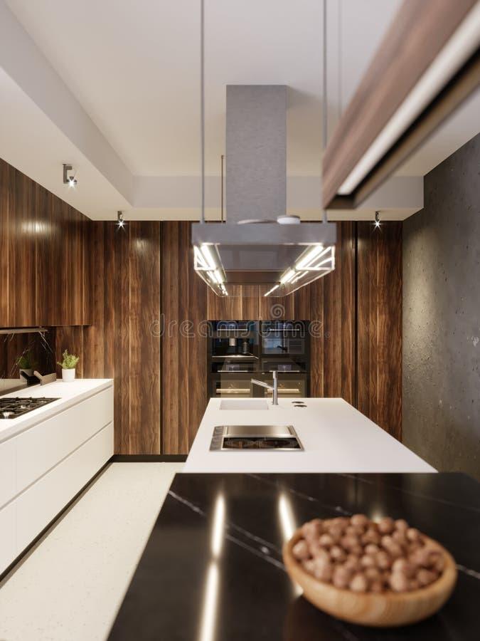 Luxueuze ontwerperkeuken met bar, keukeneiland en houten meubilair met ingebouwde toestellen Eigentijdse Keuken stock illustratie