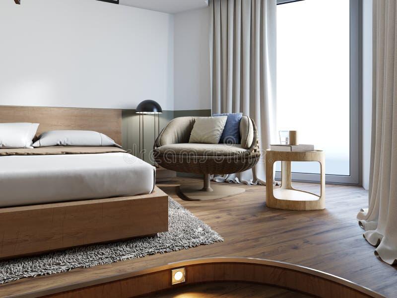 Luxueuze rieten stoel met zachte hoofdkussens in de slaapkamer vector illustratie