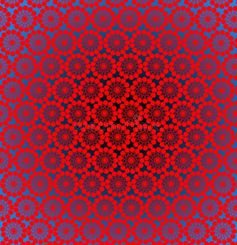 Luxueuze ronde gele patronen op het rood vector illustratie