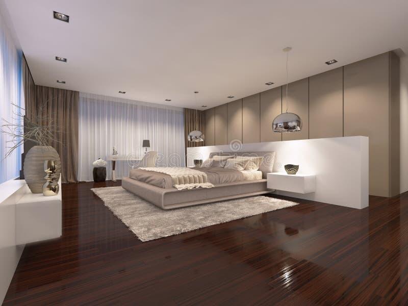 Luxueuze slaapkamer in de avond lichte eigentijdse stijl vector illustratie