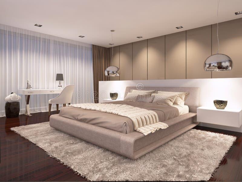 Luxueuze slaapkamer in de avond lichte eigentijdse stijl royalty-vrije illustratie