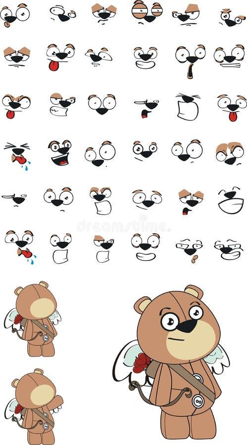 Luxuoso do cupido poucas expressões dos desenhos animados do urso de peluche ajustadas ilustração royalty free