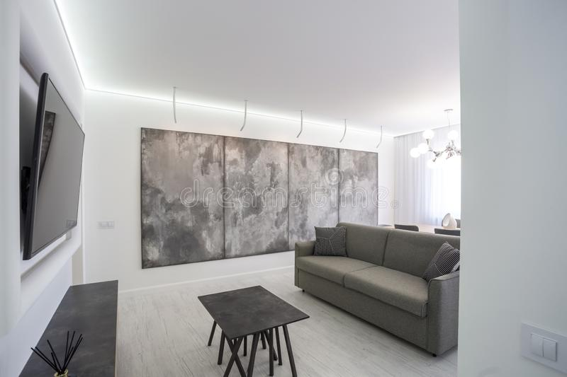 luxure hall interior loft flat in grey style design with sofa royalty free stock photos