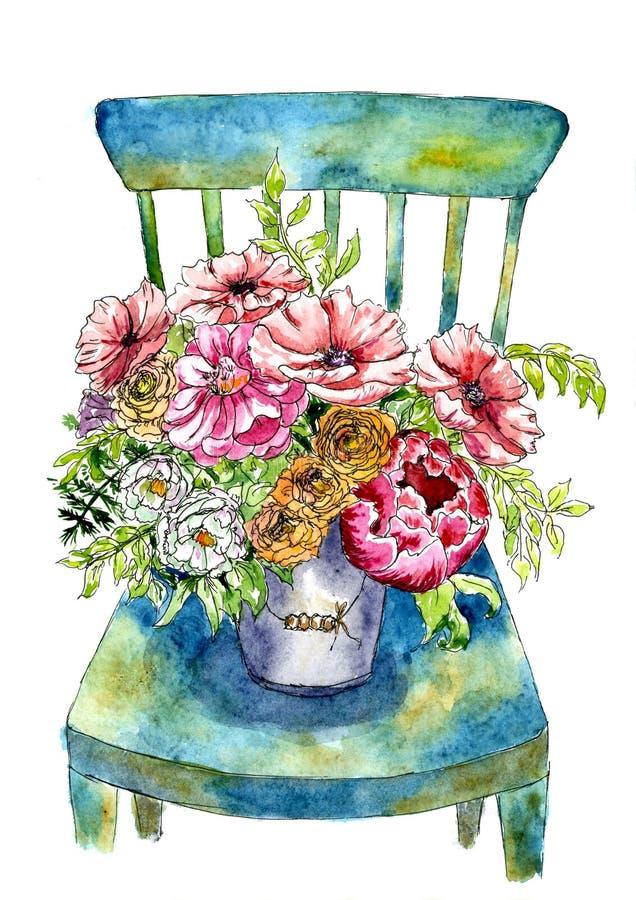 Luxuriöser Blumenstrauß von Blumen in einem Eimer auf einem Stuhl Gemalt im Aquarell vektor abbildung