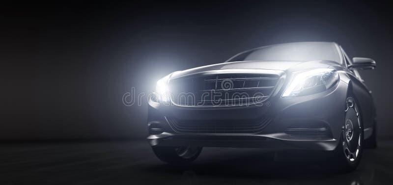 Luxuriöse Autos, Limousinen in Garage mit eingeschalteter Beleuchtung stock abbildung