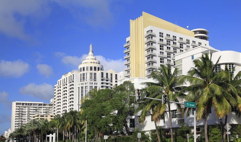 Luxuriöse Hotels im Miami Beach, Art Deco-Architektur, Florida lizenzfreie stockfotos
