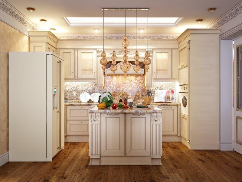 Luxuriöse Klassische Barocke Küche Und Esszimmer Stock Abbildung ...