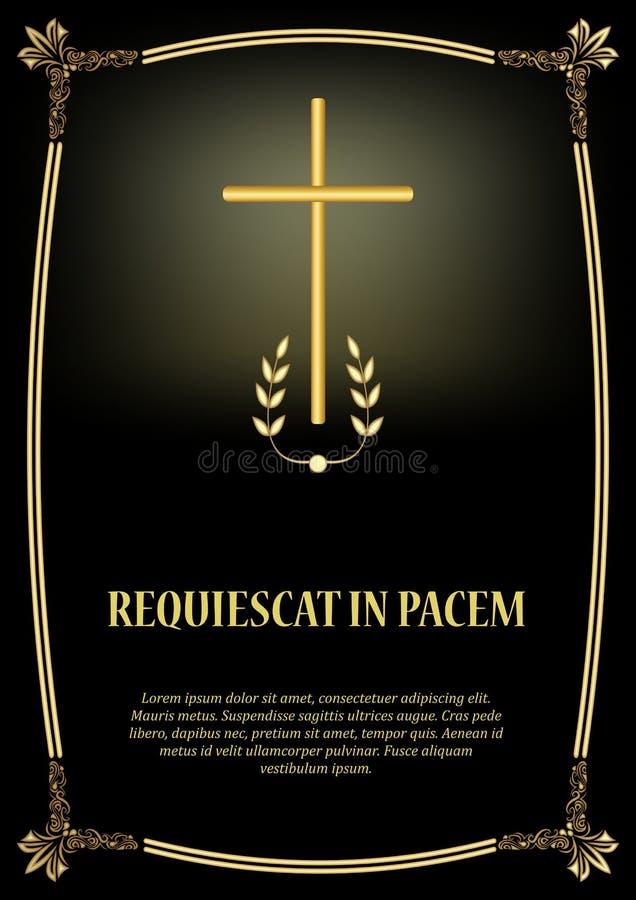 Luxuriöse Todesschablone mit goldenem Kreuz, goldenem Weinleserahmen und Licht Elegante luxuriöse Begräbnis- Mitteilung lizenzfreie abbildung
