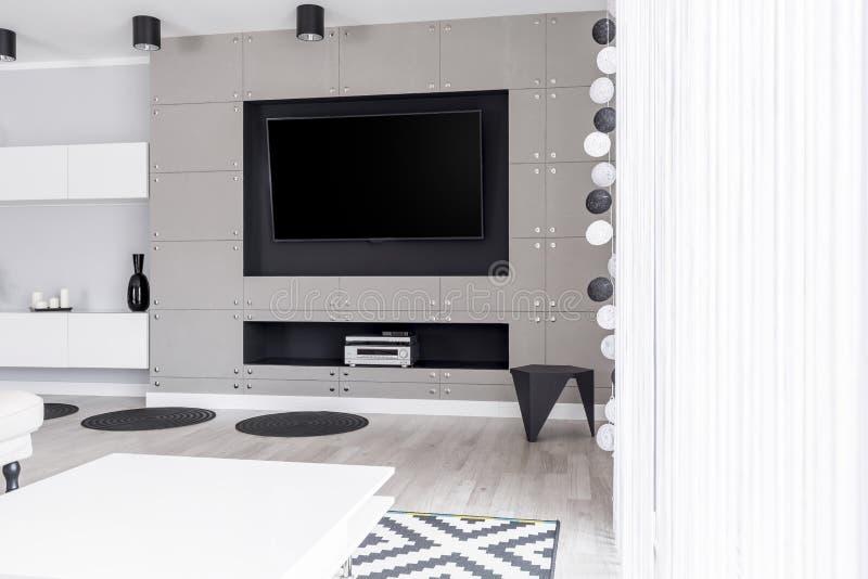 Luxuriöse Unterhaltungszone in der Wohnung lizenzfreie stockfotos