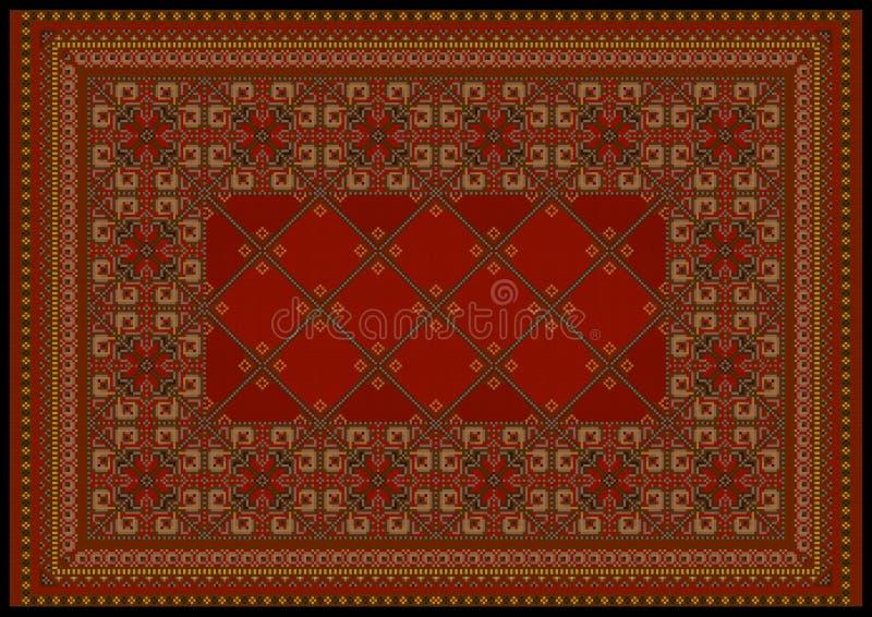 Luxuriöse Verzierung in den roten Schatten für klassischen Teppich vektor abbildung
