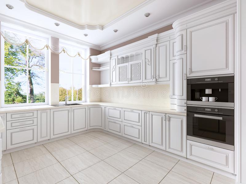 Luxuriöse weiße Küche in der klassischen Art mit eingebauten Geräten und einem großen Fenster lizenzfreie abbildung
