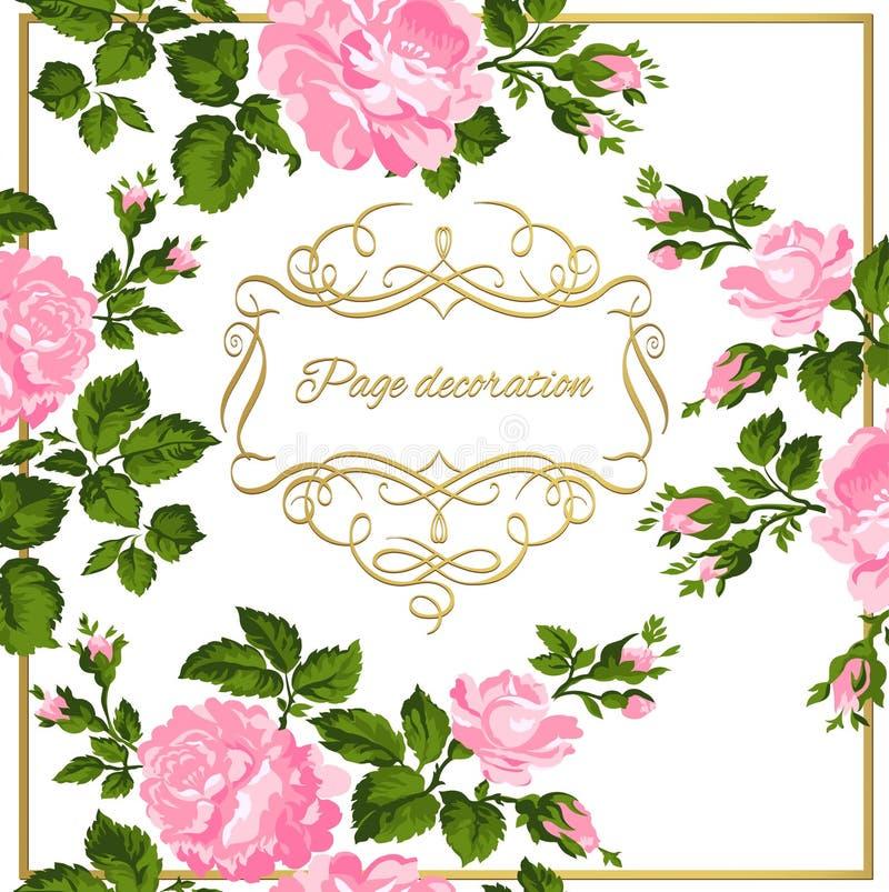 Luxuriöse Weinlesekarte von rosa Rosen mit Goldkalligraphie Auch im corel abgehobenen Betrag vektor abbildung