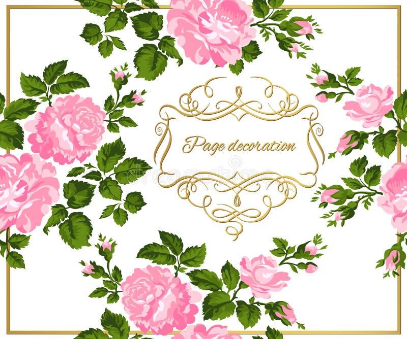 Luxuriöse Weinlesekarte von rosa Rosen mit Goldkalligraphie Auch im corel abgehobenen Betrag stock abbildung