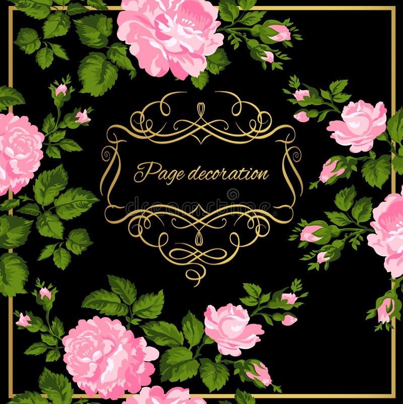 Luxuriöse Weinlesekarte von rosa Rosen mit Goldkalligraphie Auch im corel abgehobenen Betrag lizenzfreie abbildung