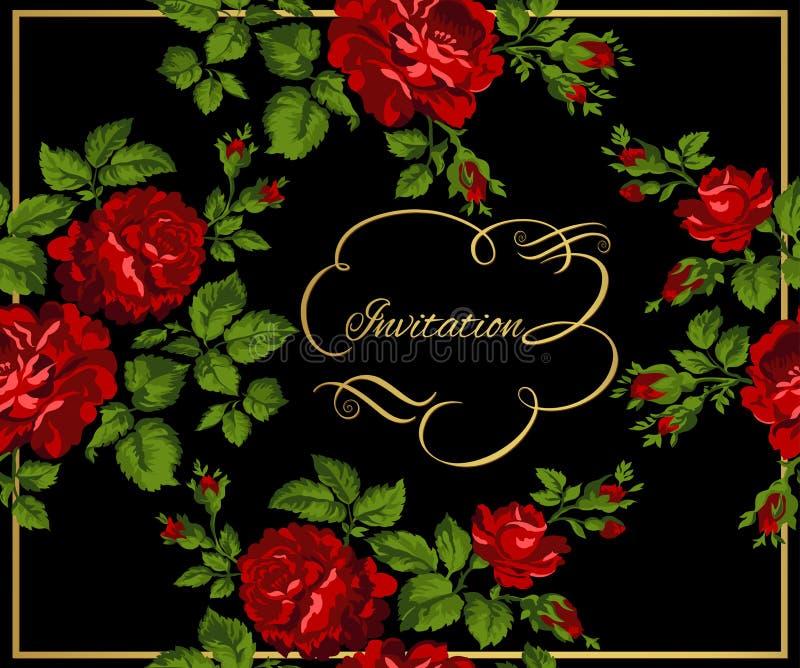 Luxuriöse Weinlesekarte von roten Rosen mit Goldkalligraphie Auch im corel abgehobenen Betrag lizenzfreie abbildung