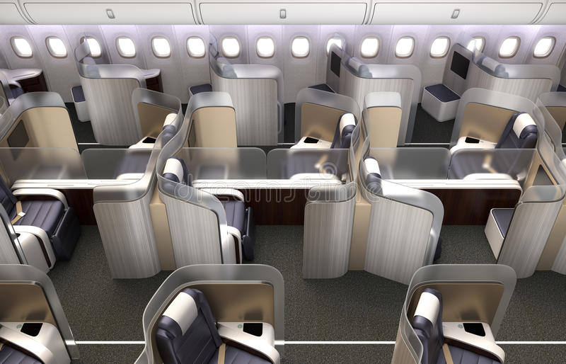 Luxuriöser Business-Class-Kabineninnenraum Jeder Sitz geteilt durch bereiftes Acrylfach lizenzfreie abbildung