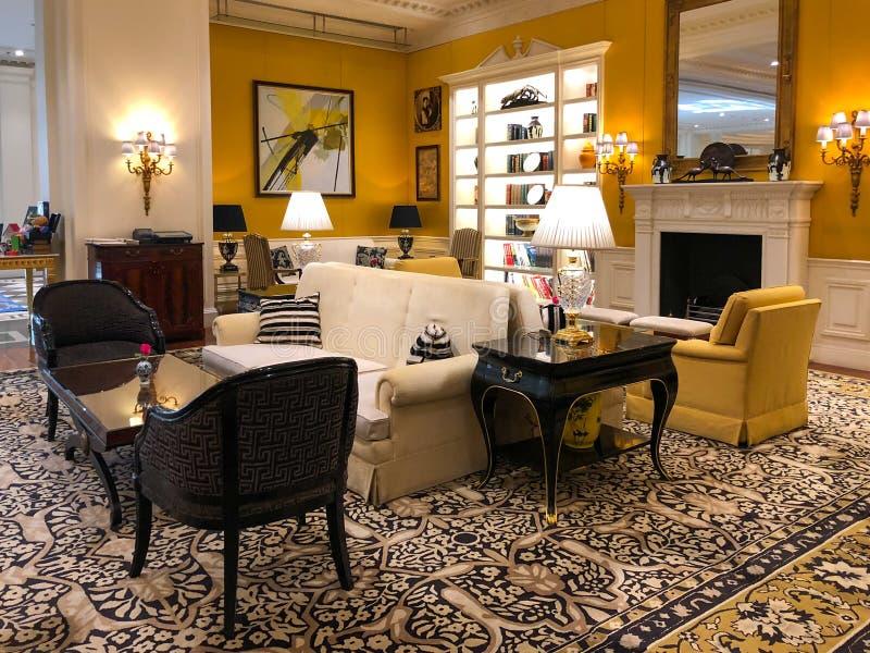 Luxuriöser Hotellobbyinnenraum von Ritz Carlton Tianjin China stockbild