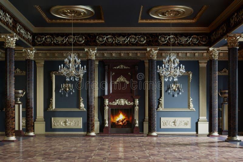 Luxuriöser Innenraum des Palastes Wiedergabe 3d stockfotos