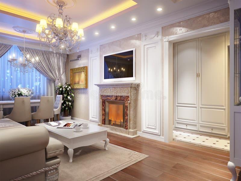 Luxuriöser klassischer barocker Wohnzimmerinnenraum lizenzfreie abbildung